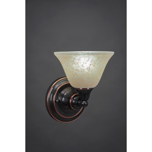 Black Copper Wall Sconce with Amber Marble Glass
