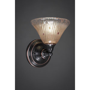 Black Copper Wall Sconce with Amber Crystal Glass