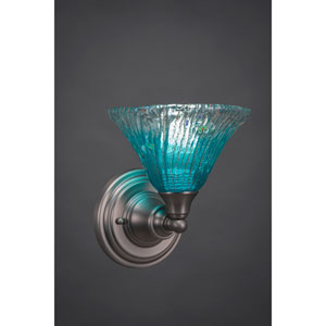 Brushed Nickel Wall Sconce with Teal Crystal Glass