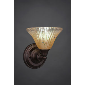 Bronze Wall Sconce with Amber Crystal Glass