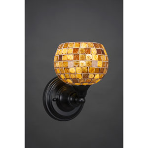 Matte Black Wall Sconce with 6-Inch Mosaic Glass