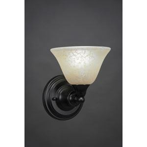 Matte Black Wall Sconce with 7-Inch Amber Marble Glass