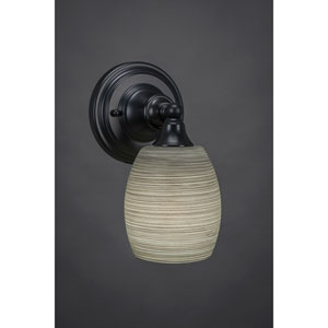 Matte Black Wall Sconce with 5-Inch Gray Linen Glass