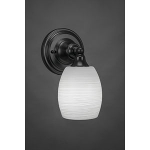 Matte Black Wall Sconce with 5-Inch White Linen Glass