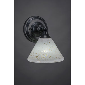 Matte Black Wall Sconce with 7-Inch Gold Ice Glass