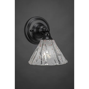 Matte Black Wall Sconce with 7-Inch Italian Ice Glass