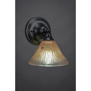 Matte Black Wall Sconce with 7-Inch Amber Crystal Glass