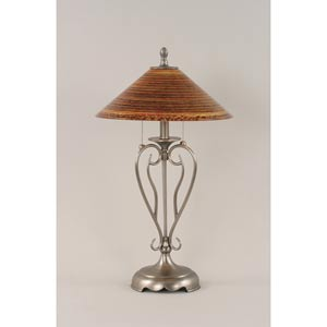 Olde Iron Brushed Nickel Two-Light Table Lamp with Firre Saturn Glass Shade