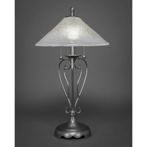Olde Iron Brushed Nickel Two-Light Table Lamp with Gold Ice