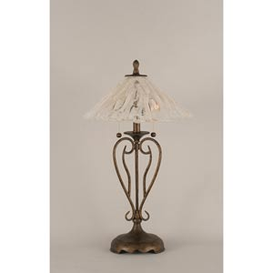 Olde Iron Bronze Two-Light Table Lamp with Italian Ice Glass Shade