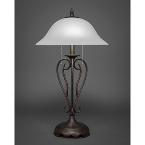 Olde Iron Bronze Two-Light Table Lamp with White Linen Glass
