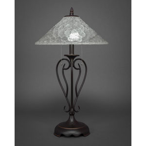 Olde Iron Dark Granite Two-Light Table Lamp with Italian Bubble Glass