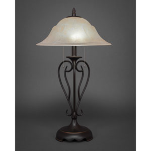Olde Iron Dark Granite Two-Light Table Lamp with Amber Marble Glass