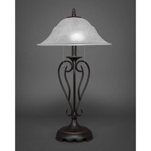 Olde Iron Dark Granite Two-Light Table Lamp with White Marble Glass