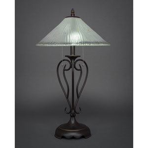 Olde Iron Dark Granite Two-Light Table Lamp with Frosted Crystal Glass