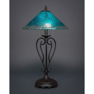 Olde Iron Dark Granite Two-Light Table Lamp with Teal Crystal Glass
