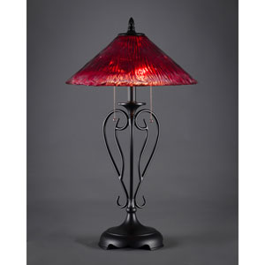 Matte Black Two-Light Table Lamp with Raspberry Crystal Glass