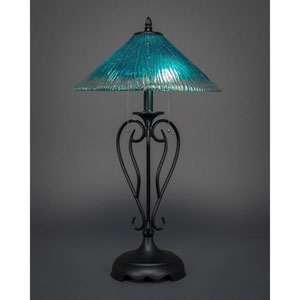 Olde Iron Matte Black Two-Light Table Lamp with Teal Crystal Glass