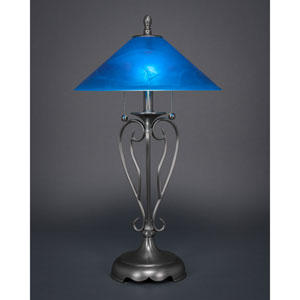 Olde Iron Brushed Nickel Two-Light Table Lamp with Blue Italian Glass Shade