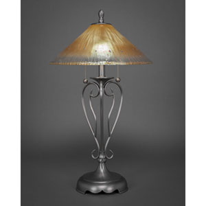 Olde Iron Brushed Nickel Two-Light Table Lamp with Amber Crystal Glass Shade