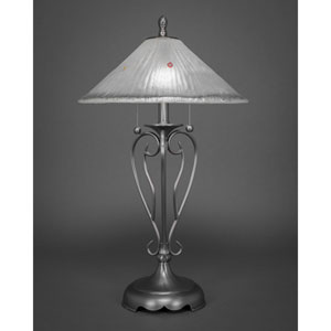 Olde Iron Brushed Nickel Two-Light Table Lamp with Frosted Crystal Glass Shade