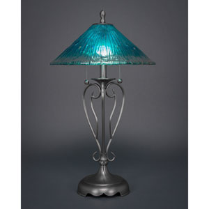 Olde Iron Brushed Nickel Two-Light Table Lamp with Teal Crystal Glass Shade
