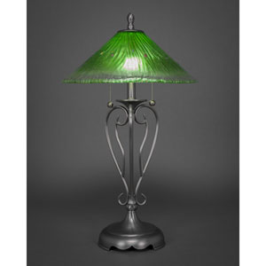 Olde Iron Brushed Nickel Two-Light Table Lamp with Kiwi Green Crystal Glass Shade