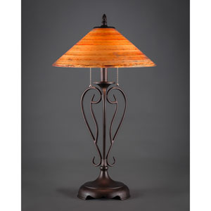 Olde Iron Bronze Two-Light Table Lamp with Firre Saturn Glass Shade