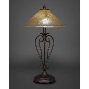 Olde Iron Bronze Two-Light Table Lamp with Amber Crystal Glass Shade