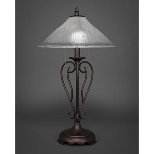 Olde Iron Bronze Two-Light Table Lamp with Frosted Crystal Glass Shade