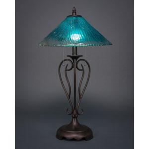 Olde Iron Bronze Two-Light Table Lamp with Teal Crystal Glass Shade