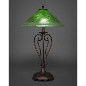 Olde Iron Bronze Two-Light Table Lamp with Kiwi Green Crystal Glass Shade