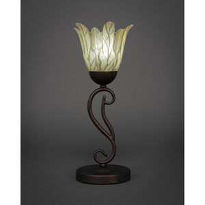 Olde Iron Bronze One-Light Mini Table Lamp with Vanilla Leaf Glass