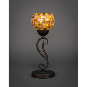 Olde Iron Bronze One-Light Mini Table Lamp with 6-Inch Copper Mosaic Glass