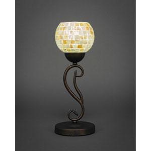 Olde Iron Bronze One-Light Mini Table Lamp with Mystic Seashell Glass