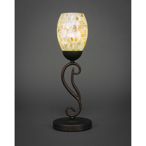 Olde Iron Bronze One-Light Mini Table Lamp with Ivory Glaze Seashell Glass