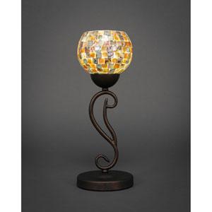 Olde Iron Bronze One-Light Mini Table Lamp with Sea Mist Seashell Glass