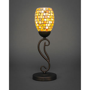 Olde Iron Bronze One-Light Mini Table Lamp with Sea Haze Seashell Glass