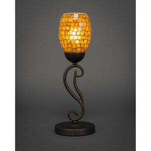 Olde Iron Bronze One-Light Mini Table Lamp with 5-Inch Copper Mosaic Glass