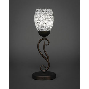 Olde Iron Bronze One-Light Mini Table Lamp with Black Fusion Glass