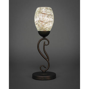 Olde Iron Bronze One-Light Mini Table Lamp with Natural Fusion Glass