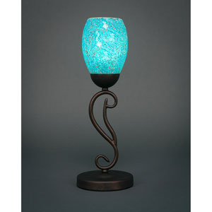Olde Iron Bronze One-Light Mini Table Lamp with Turquoise Fusion Glass