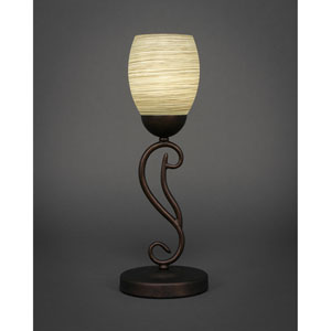 Olde Iron Bronze One-Light Mini Table Lamp with 5-Inch Gray Linen Glass
