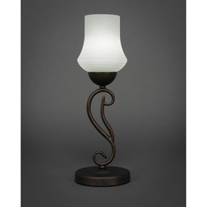Olde Iron Bronze One-Light Mini Table Lamp with White Linen Glass