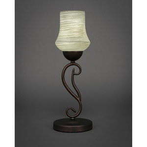 Olde Iron Bronze One-Light Mini Table Lamp with 6-Inch Gray Linen Glass