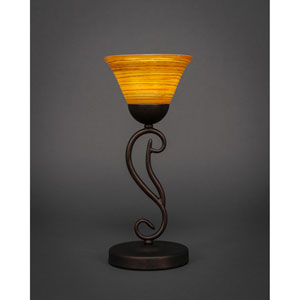 Olde Iron Bronze One-Light Mini Table Lamp with Firre Saturn Glass Shade