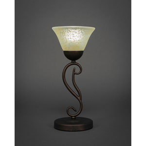 Olde Iron Bronze Mini Table Lamp with Amber Marble Glass