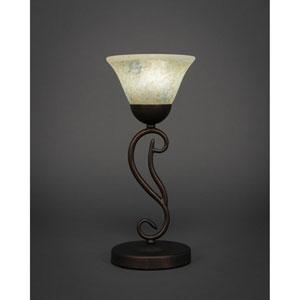 Olde Iron Bronze Mini Table Lamp with Italian Marble Glass