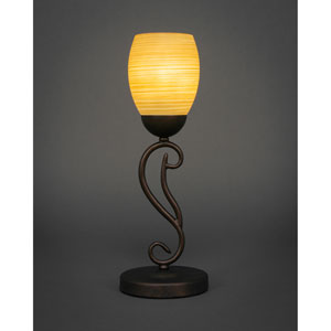 Olde Iron Bronze 5-Inch One Light Mini Table Lamps with Cayenne Linen Glass