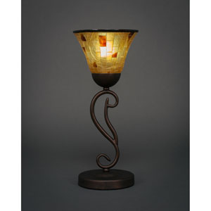 Olde Iron Bronze Mini Table Lamp with Penshell Shade